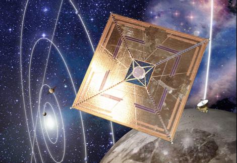 Illustration pour la conférence U3P d'octobre 2013 d'après des photos du voilier Ikaros, et de la sonde New Horizon en route pour Pluton.