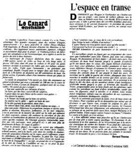 Le Canard Enchaîné - 2 octobre 1985 - L'Espace en transe